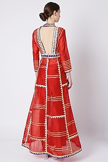 Red Embroidered & Printed Anarkali Set by ASAL By Abu Sandeep