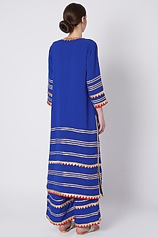 Cobalt Blue Embroidered & Printed Kurta Set by ASAL By Abu Sandeep