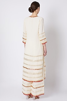 White Embroidered & Printed Kurta Set by ASAL By Abu Sandeep
