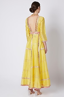 Yellow Embroidered & Printed Anarkali Set by ASAL By Abu Sandeep