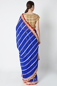 Royal Blue Embroidered Saree Set by ASAL By Abu Sandeep