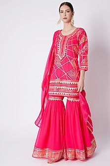 Pink Embroidered Gharara Set by ASAL By Abu Sandeep-READY TO SHIP