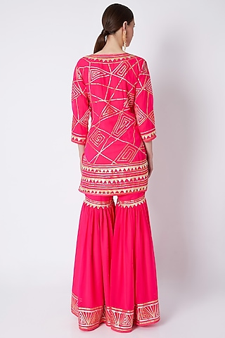 Pink Embroidered Gharara Set by ASAL By Abu Sandeep