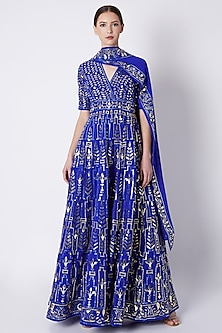 Royal Blue Embroidered Anarkali Set by ASAL By Abu Sandeep