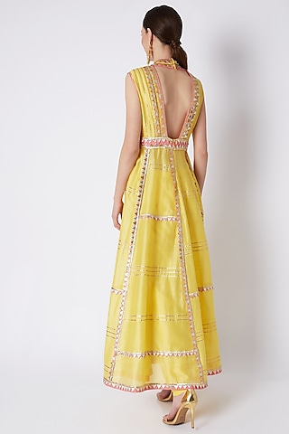 Yellow Embroidered Anarkali Set by ASAL By Abu Sandeep