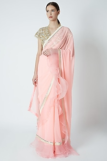 Peach Embroidered Ruffled Saree Set by ASAL By Abu Sandeep