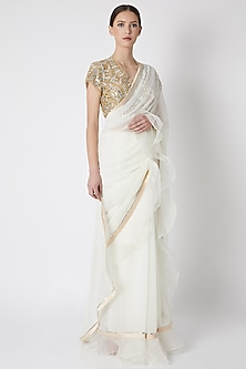White Embroidered Ruffled Saree Set by ASAL By Abu Sandeep