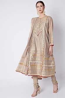 Beige Embroidered Kalidar Kurta Set by ASAL By Abu Sandeep