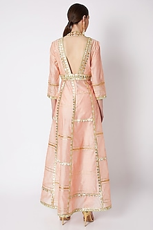 Peach Embroidered Anarkali Set by ASAL By Abu Sandeep