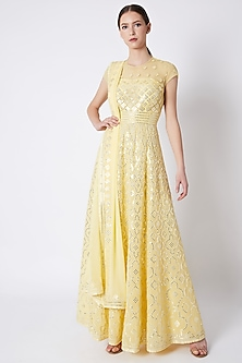 Yellow Abla Embroidered Anarkali Set by ASAL By Abu Sandeep
