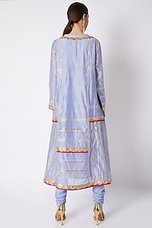 Mauve Embroidered Kalidar Kurta Set by ASAL By Abu Sandeep
