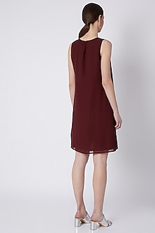 Maroon Embroidered Pleated Dress by Attic Salt