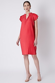 Red Dress With Micro Pleats by Attic Salt