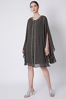 Grey Layered Embellished Dress by Attic Salt