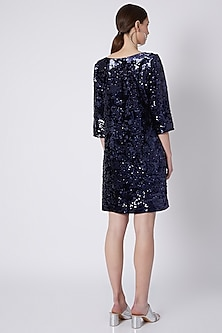 Cobalt Blue Sequins Embroidered Dress by Attic Salt