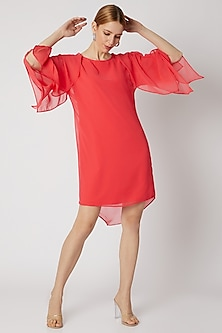 Crimson Pink Handkerchief Sleeves Dress by Attic Salt
