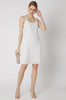 White Beads Embroidered Dress by Attic Salt