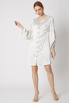 White Shirt Dress With Dramatic Sleeves by Attic Salt