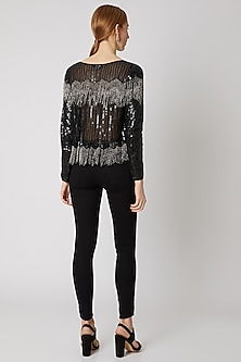 Black Sequins Embroidered Top by Attic Salt