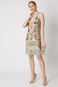 Beige Dress With Beads Embroidery by Attic Salt