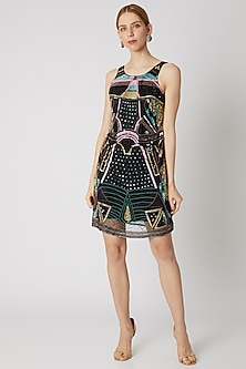 Black Sequins & Beads Embroidered Dress by Attic Salt