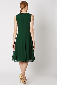 Green Panelled Embroidered Dress by Attic Salt