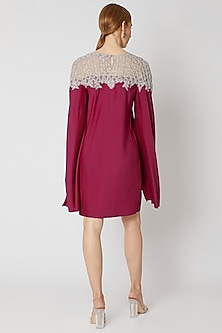 Maroon Pleated & Embroidered Dress by Attic Salt