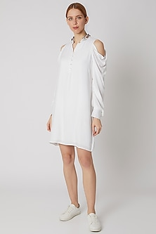 White Embroidered Cold Shoulder Dress by Attic Salt