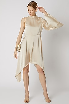Beige Dress With Asymmetric Hem by Attic Salt