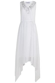 White Sequins Embellished Dress by Attic Salt