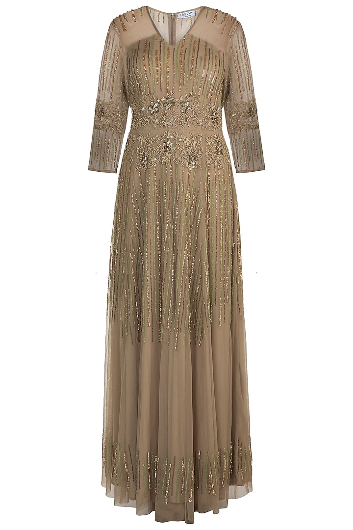 Olive Green Embellished Gown by Attic Salt