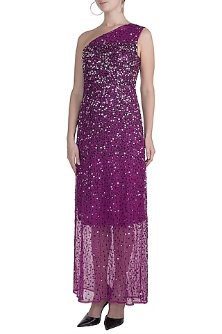 Purple Embellished One Shoulder Gown by Attic Salt
