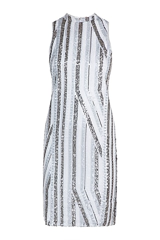 White Geometric Embroidered Dress by Attic Salt
