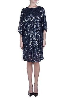 Navy Blue Sequins Embellished Dress by Attic Salt