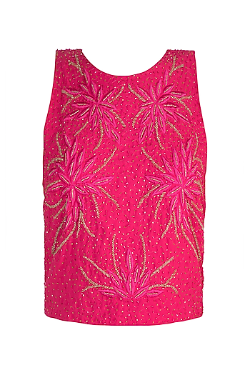 Pink Floral Embellished Tank Top by Attic Salt