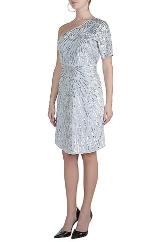 Blue & Silver One Shoulder Embellished Dress by Attic Salt