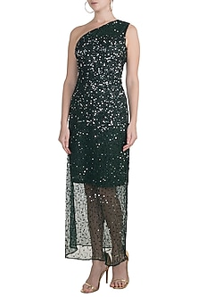 Green One Shoulder Sequins Embellished Gown by Attic Salt
