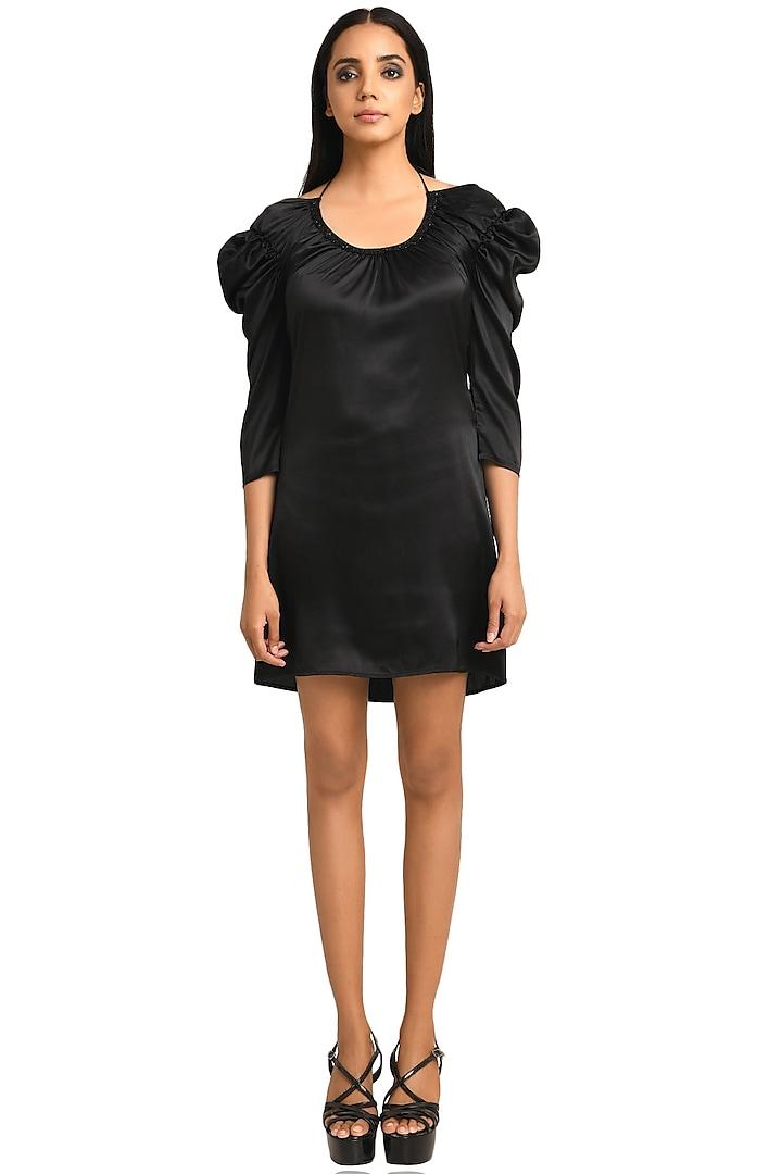 Black Embellished Dress by Attic Salt