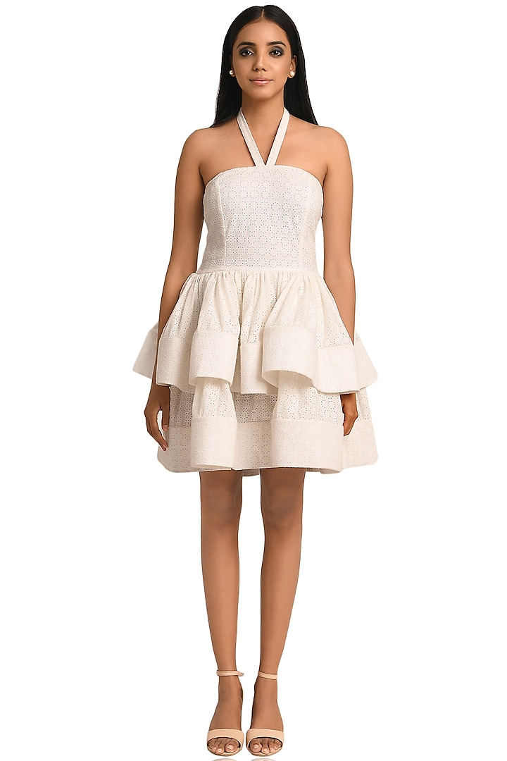 White Schiffli Mini Dress by Attic Salt