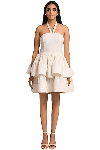 White Schiffli Mini Dress by Attic Salt