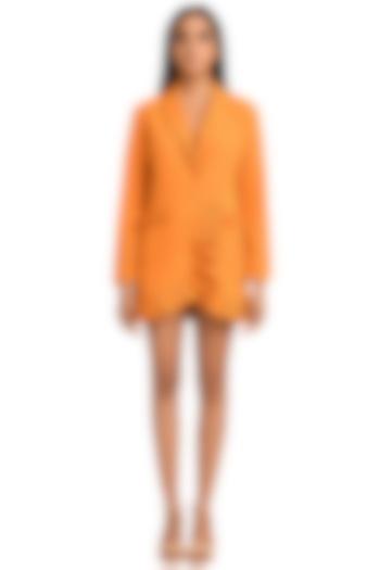 Orange Puffy Box Pleated Dress by Attic Salt