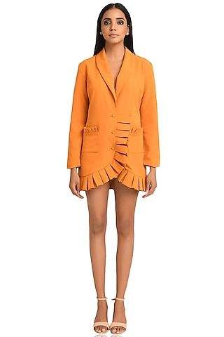 Orange Puffy Box Pleated Dress by Attic Salt