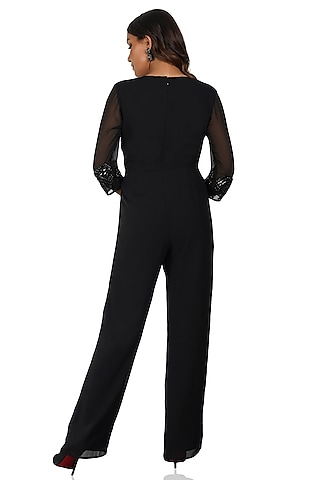 Black Hand Embroidered Jumpsuit by Attic Salt
