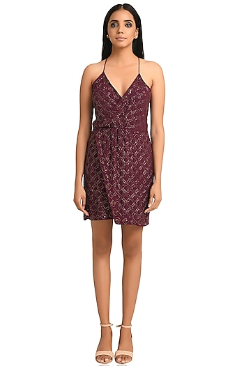 Plum Georgette Strappy Dress by Attic Salt