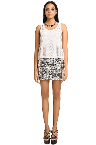 White Embellished Tank Top by Attic Salt