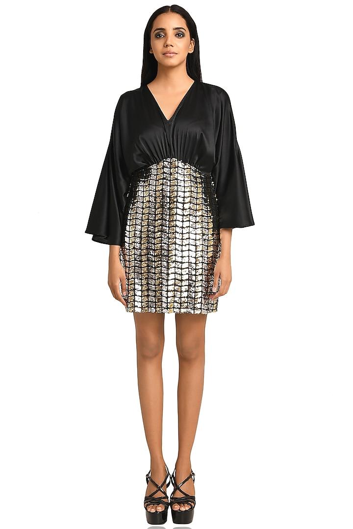 Black Satin Mini Dress by Attic Salt