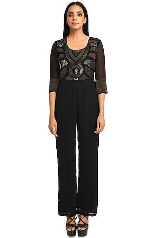 Black Jumpsuit With Sequins Work by Attic Salt