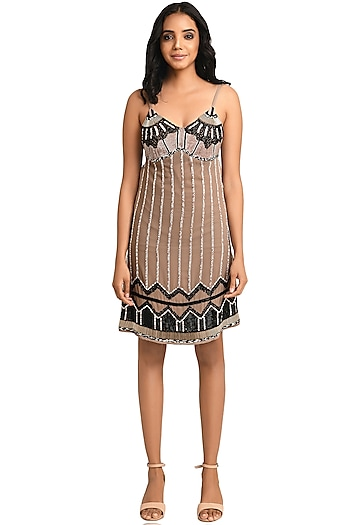 Nude Embroidered Mini Slip Dress by Attic Salt