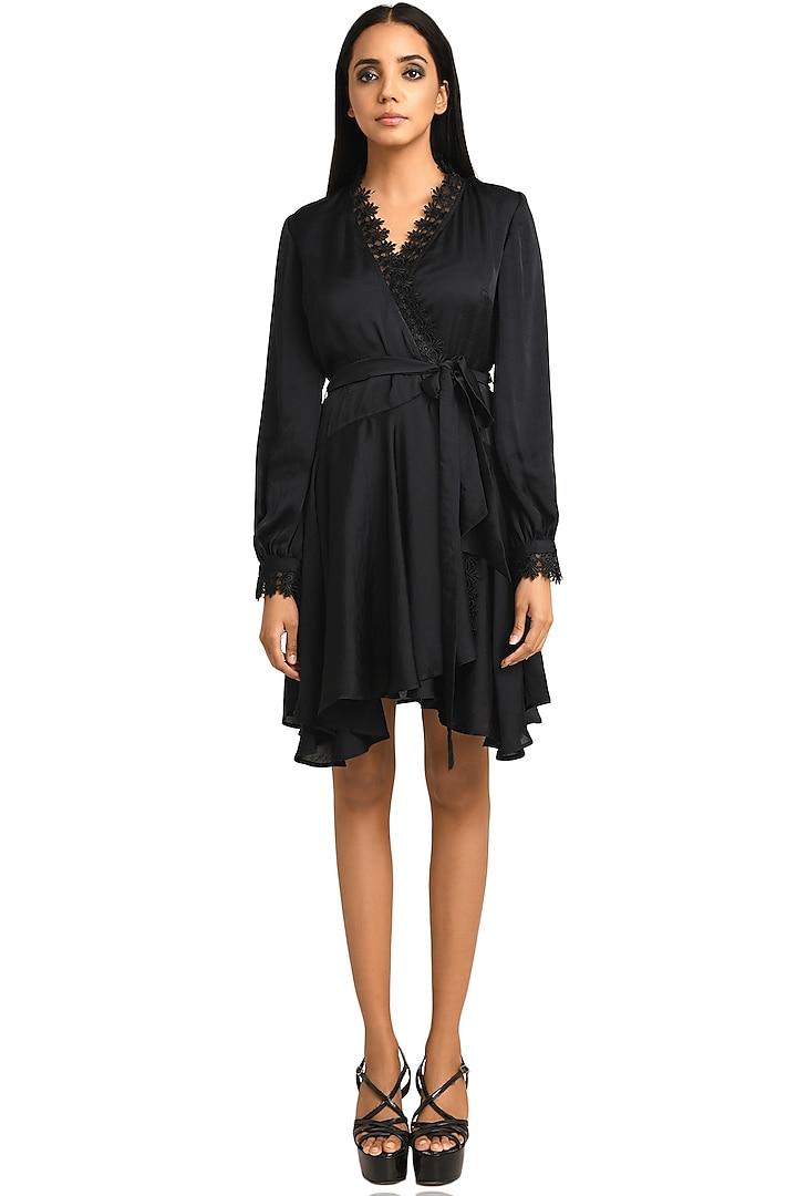 Black Satin Wrap Dress by Attic Salt