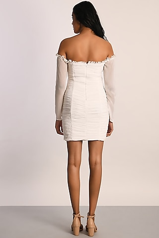 White Georgette Ruched Dress by Attic Salt